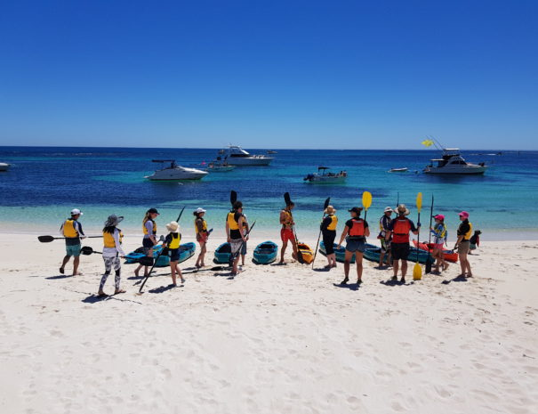 Group about to go out on glass bottom kayaks