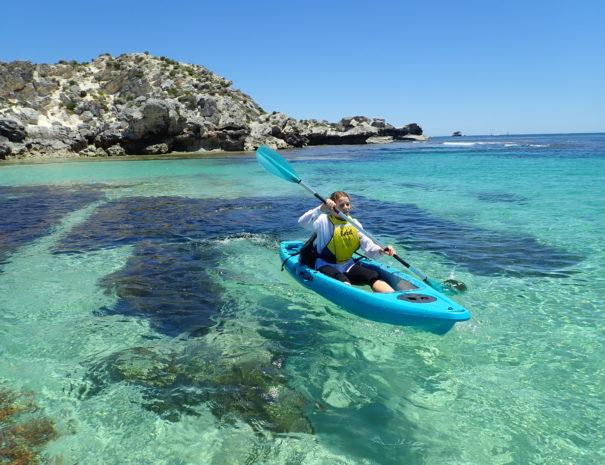 Girl kayaking in Rottnest Island