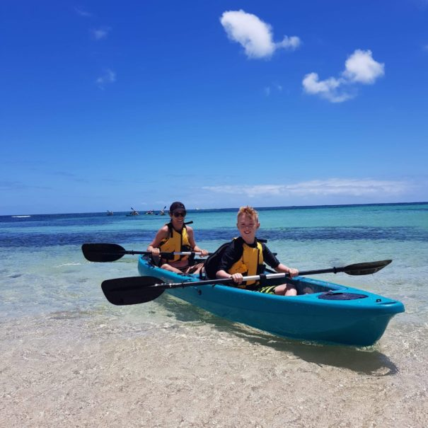 Family in double kayak on Rottnest Island